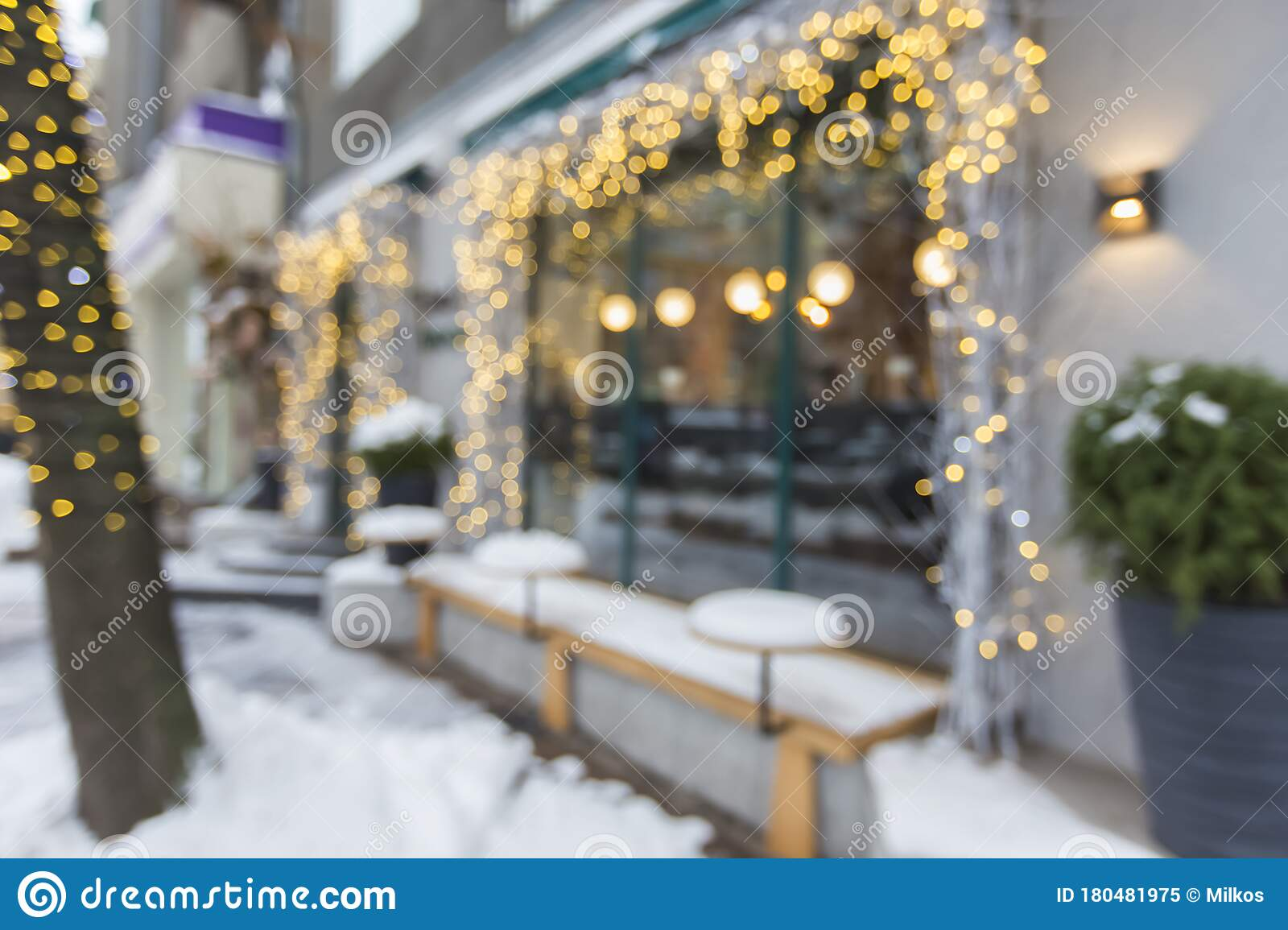 Blurred Exterior Of Luxury Restaurant With Holiday Decorations Stock Image Image Of Blurred Defocused 180481975
