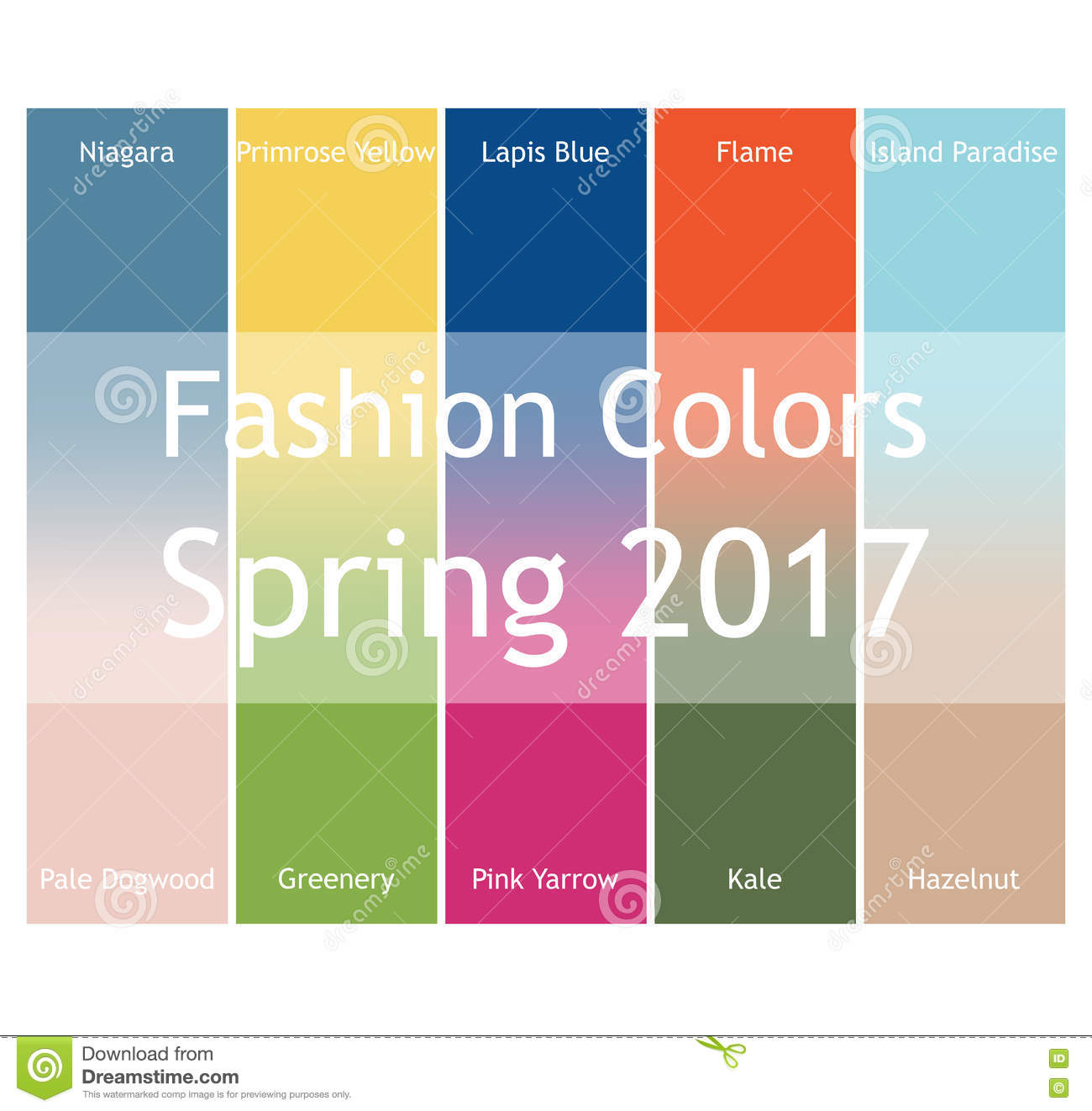 Blurred fashion infographic with trendy colors of the 2017 Spring. Niagara,Primrose Yellow,Lapis Blue,Flame,Island