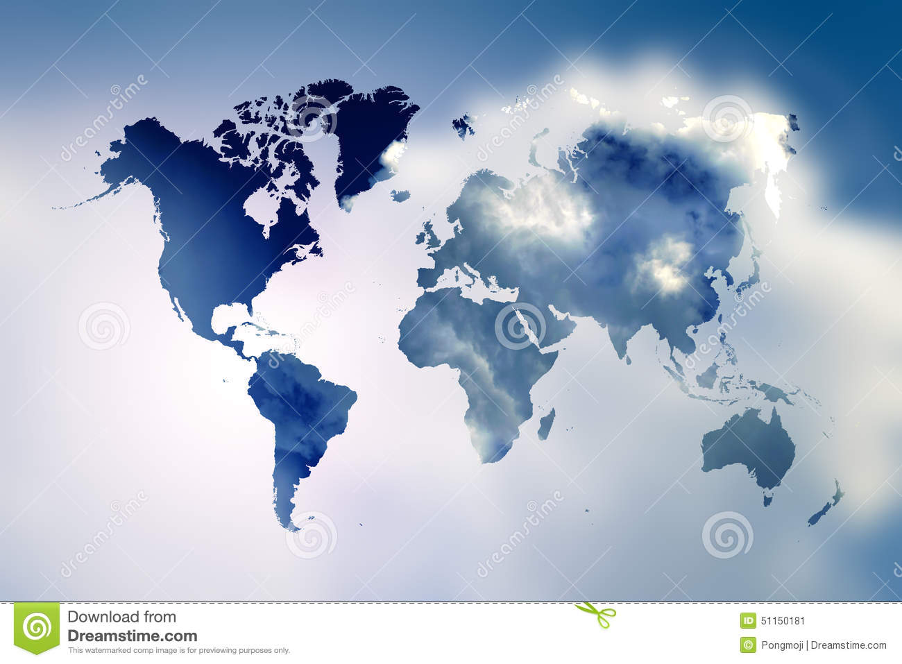 Blurred flare blue sky with world map stock illustration blurred flare blue sky with world map gumiabroncs