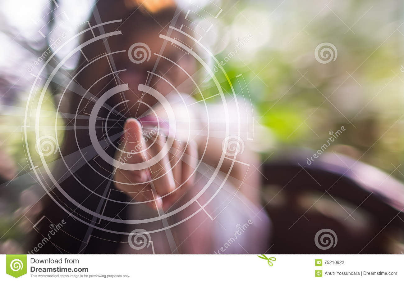 a blurred girl pointing finger on a technology touch screen stock rh dreamstime com