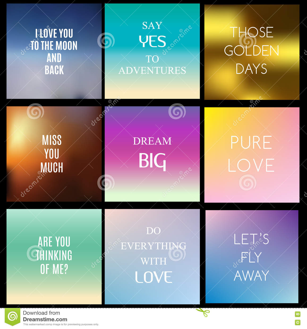 Blurred, Gradient Backgrounds With Inspiring Quotes And
