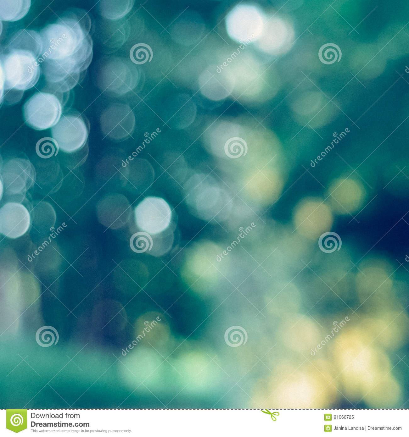 Blurred green background with interesting bokeh - instant vintage square photo
