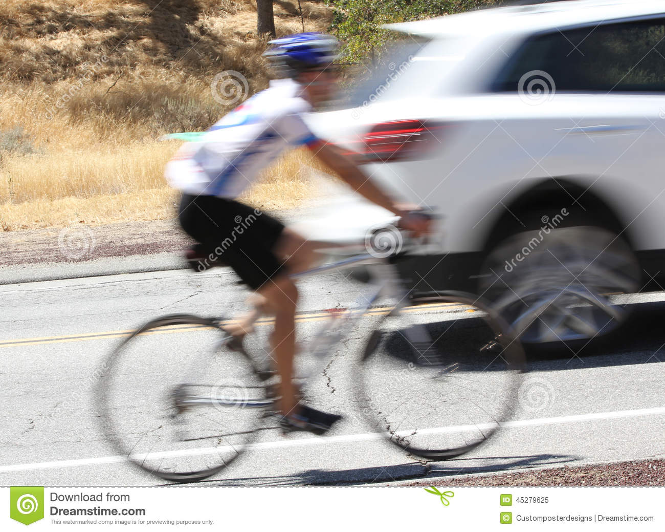 Download A Blurred Image Of A Bicycle And Car On The Road. Stock Image - Image of adult, blur: 45279625