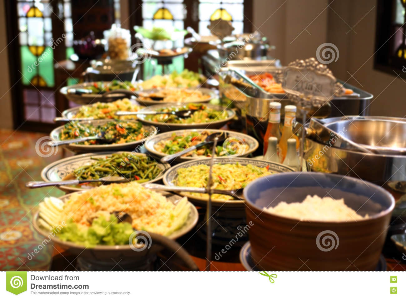 blurred image breakfast buffet table at hotel restaurant stock image image 73572359. Black Bedroom Furniture Sets. Home Design Ideas