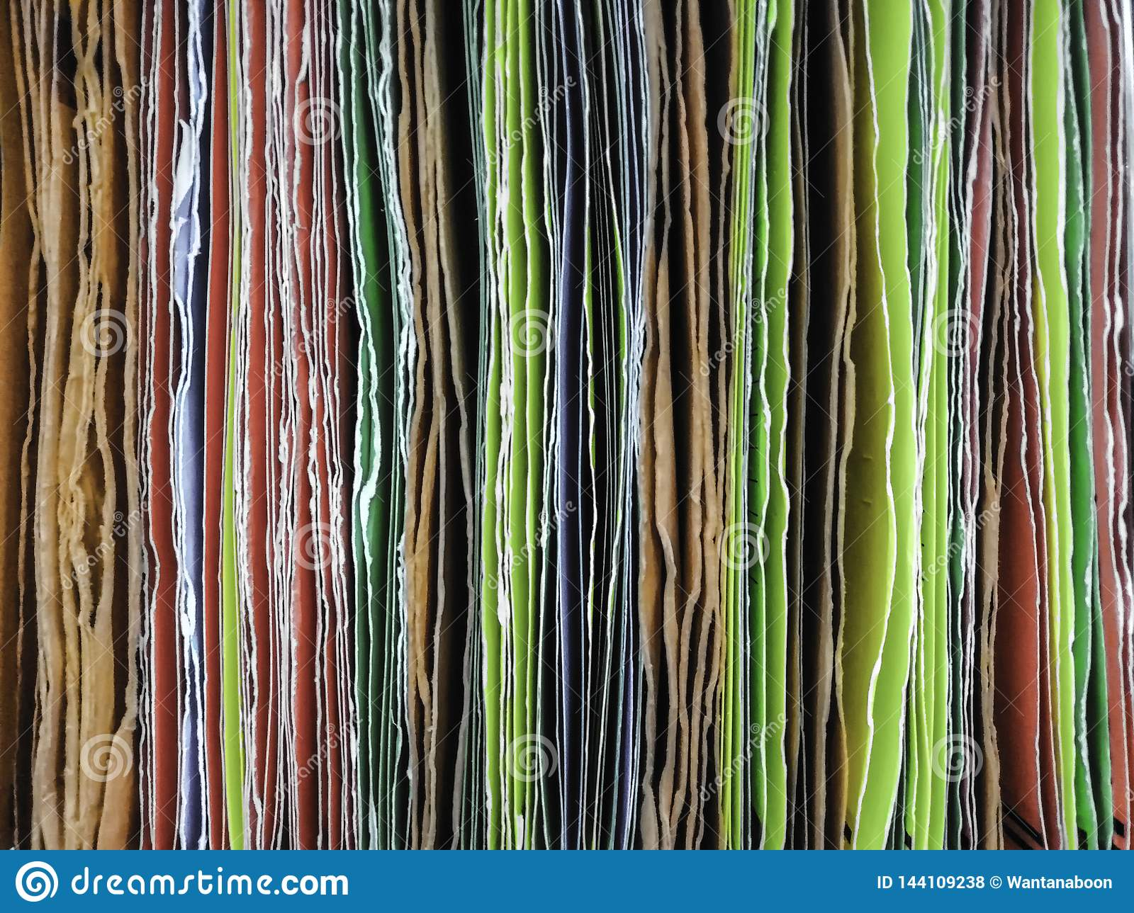 Colorful of paper file hanging for inserting documents in the office