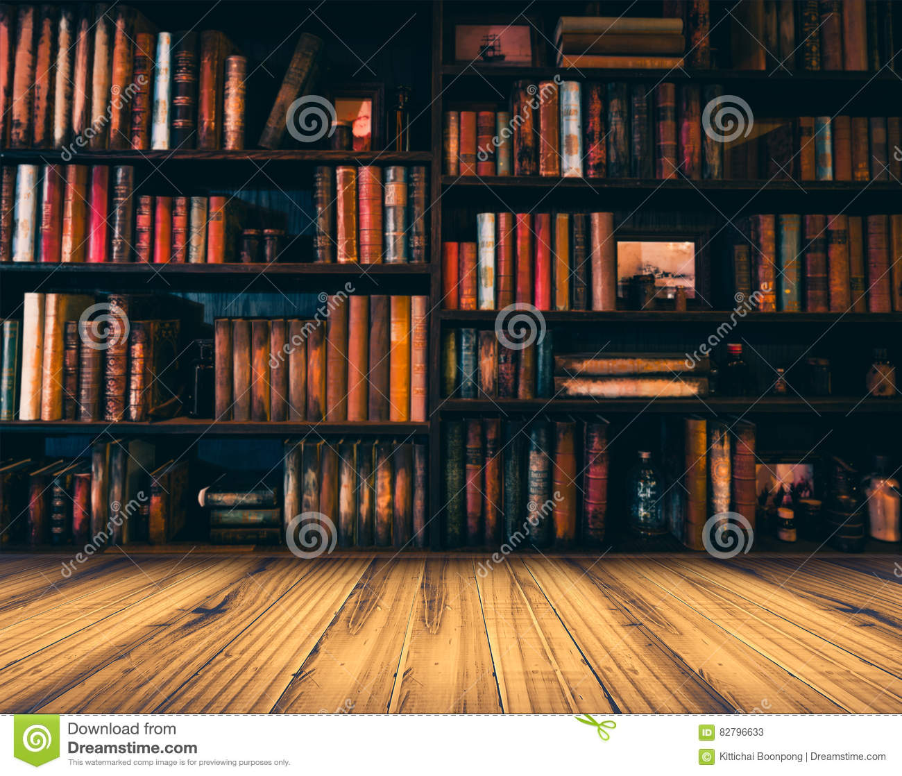 Blurred Image Many Old Books On Bookshelf In Library Download Preview