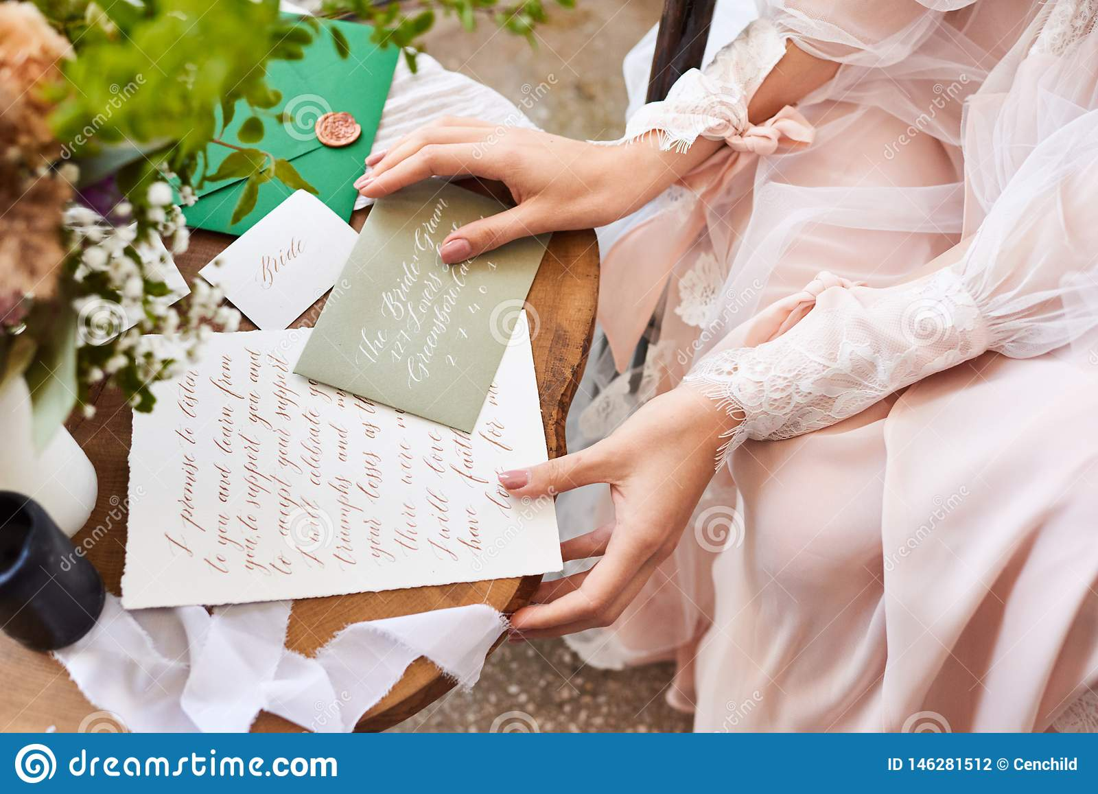 Wedding Day Letter To Bride.Wedding Day The Bride Sits Near The Window And Reads The