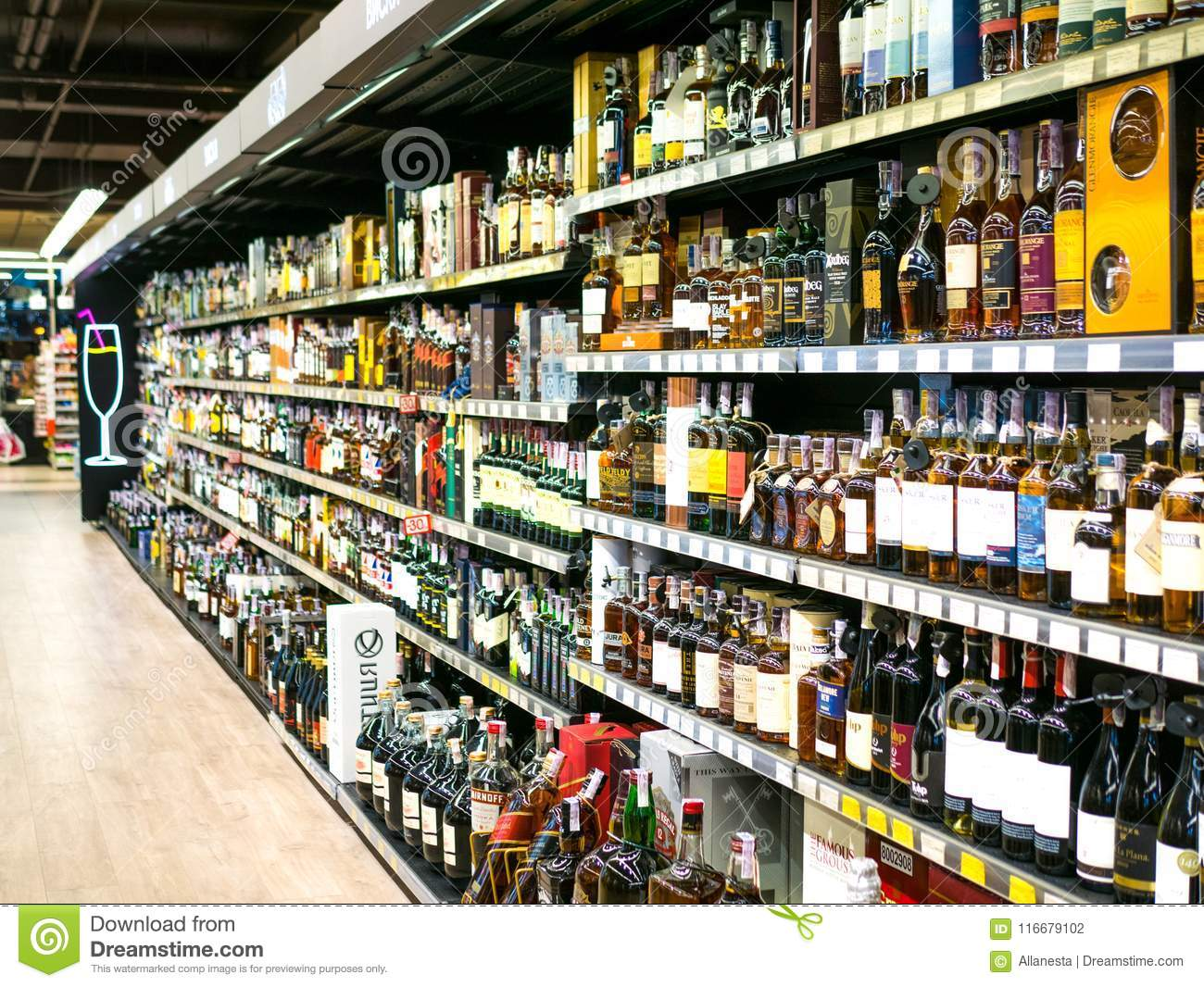 Wine Shelves With Price Tags On Display At Store In Kharkov