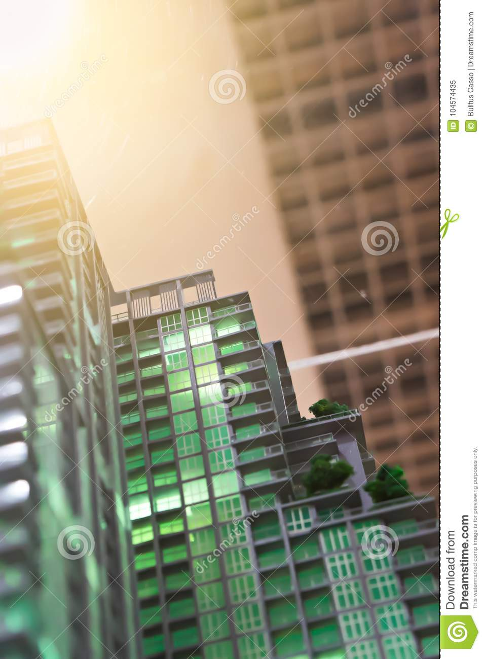 Blurred Model condominium architectural of a modern building
