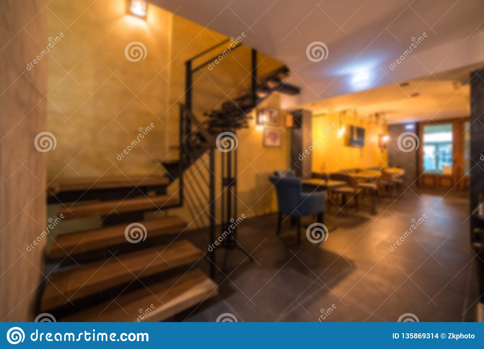 Blurred Modern Coffee Shop For Use As Background Cafe Restaurant Interior Stock Photo Image Of Display Desk 135869314