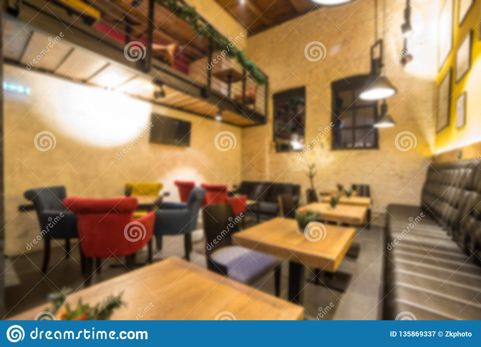Blurred Modern Coffee Shop For Use As Background Cafe Restaurant Interior Stock Image Image Of Light Desk 135869337