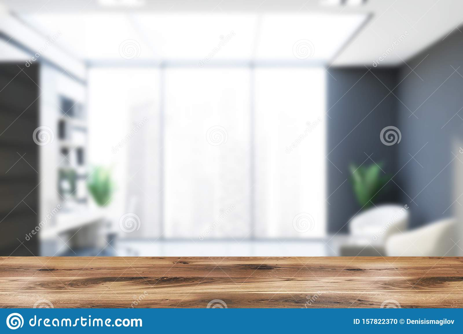 - Blurred Gray And Wooden Office With Lounge Stock Illustration