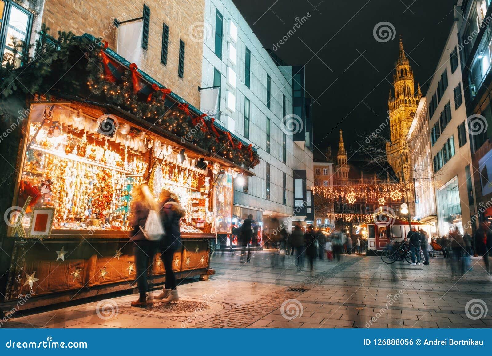 Munich Germany Christmas.Christmas Market On Marienplatz In Munich Germany Stock