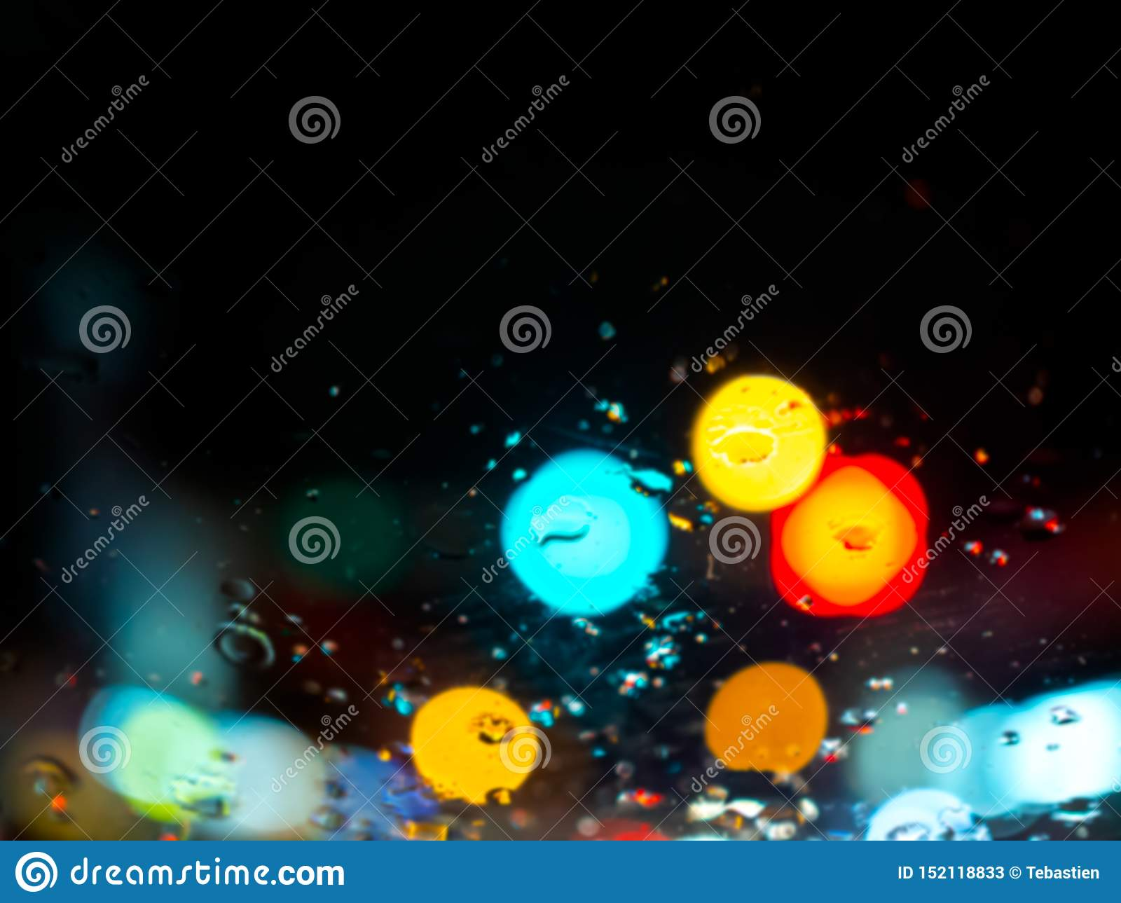 Blurred Rain Drops Texture On Car Window With Colorful Bokeh