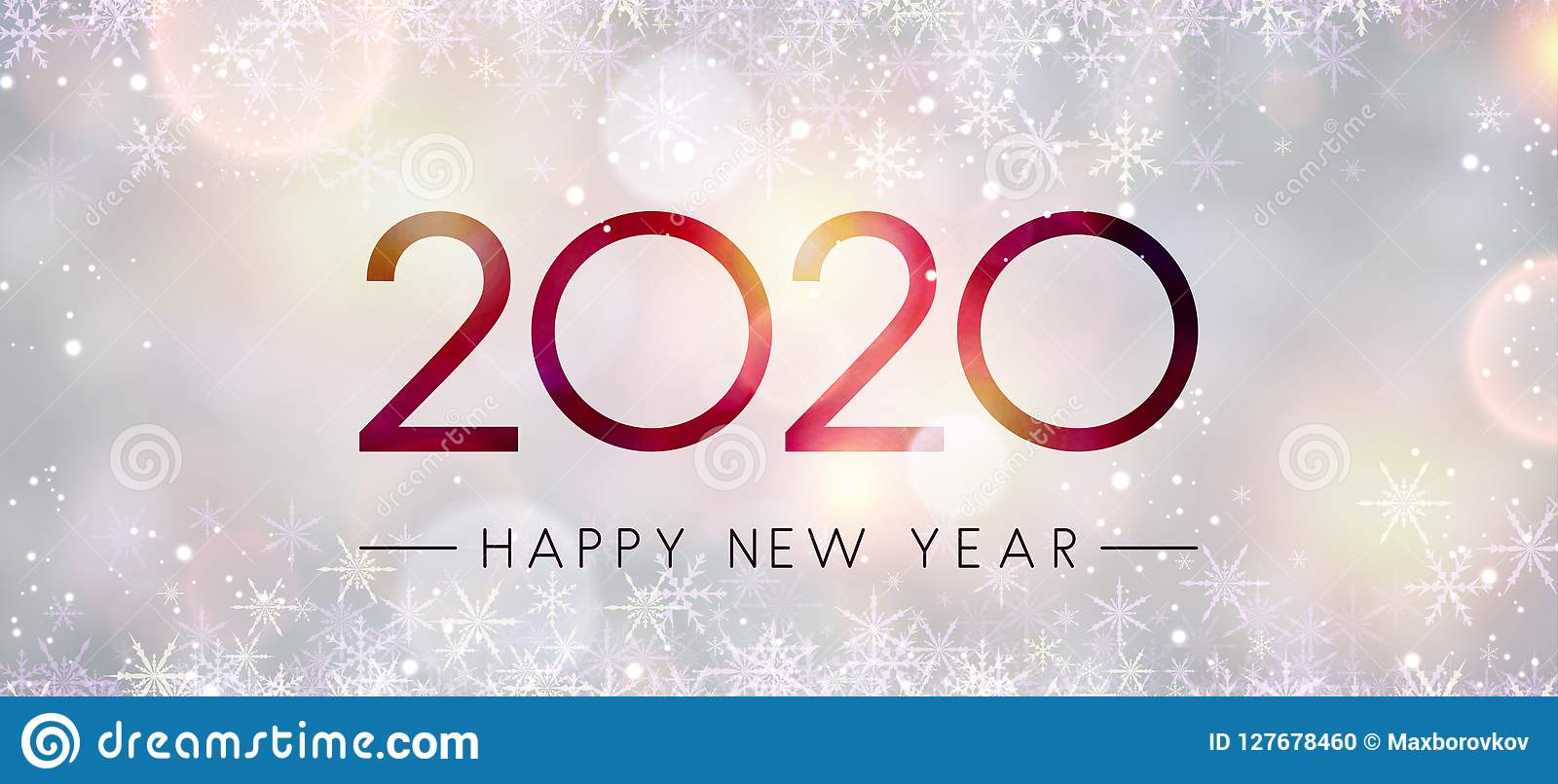 blurred shiny happy new year 2020 banner with snowflakes