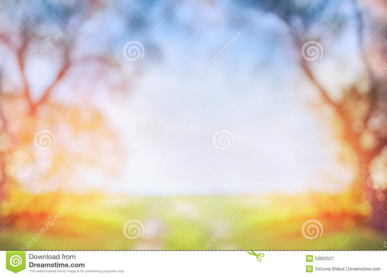 blurred outdoor backgrounds. Interesting Outdoor Blurred Spring Or Autumn Nature Background With Green Sunny Field And Tree  On Blue Sky Inside Outdoor Backgrounds E