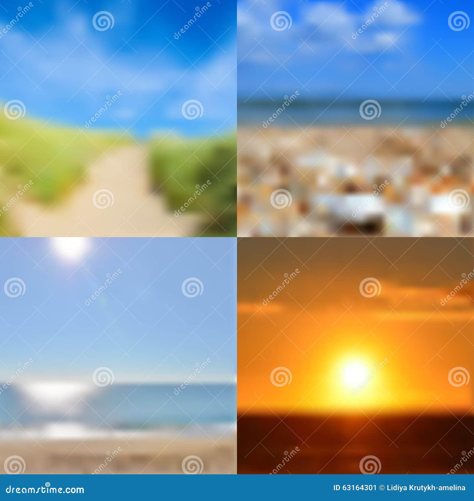 blurred summer backgrounds set stock vector illustration of design