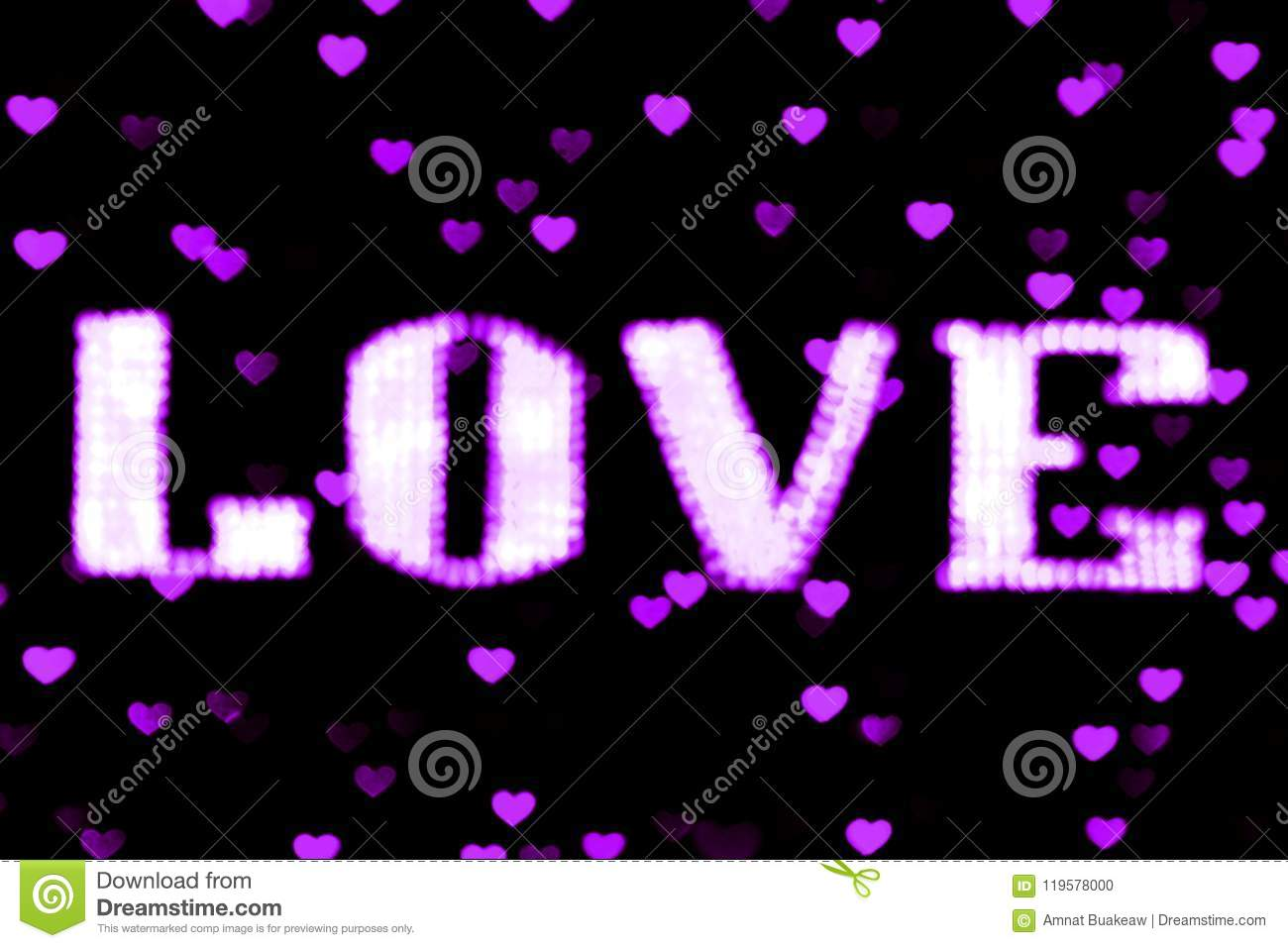 Blurred Text Purple LOVE Sign LED Bokeh Neon Light Purple On