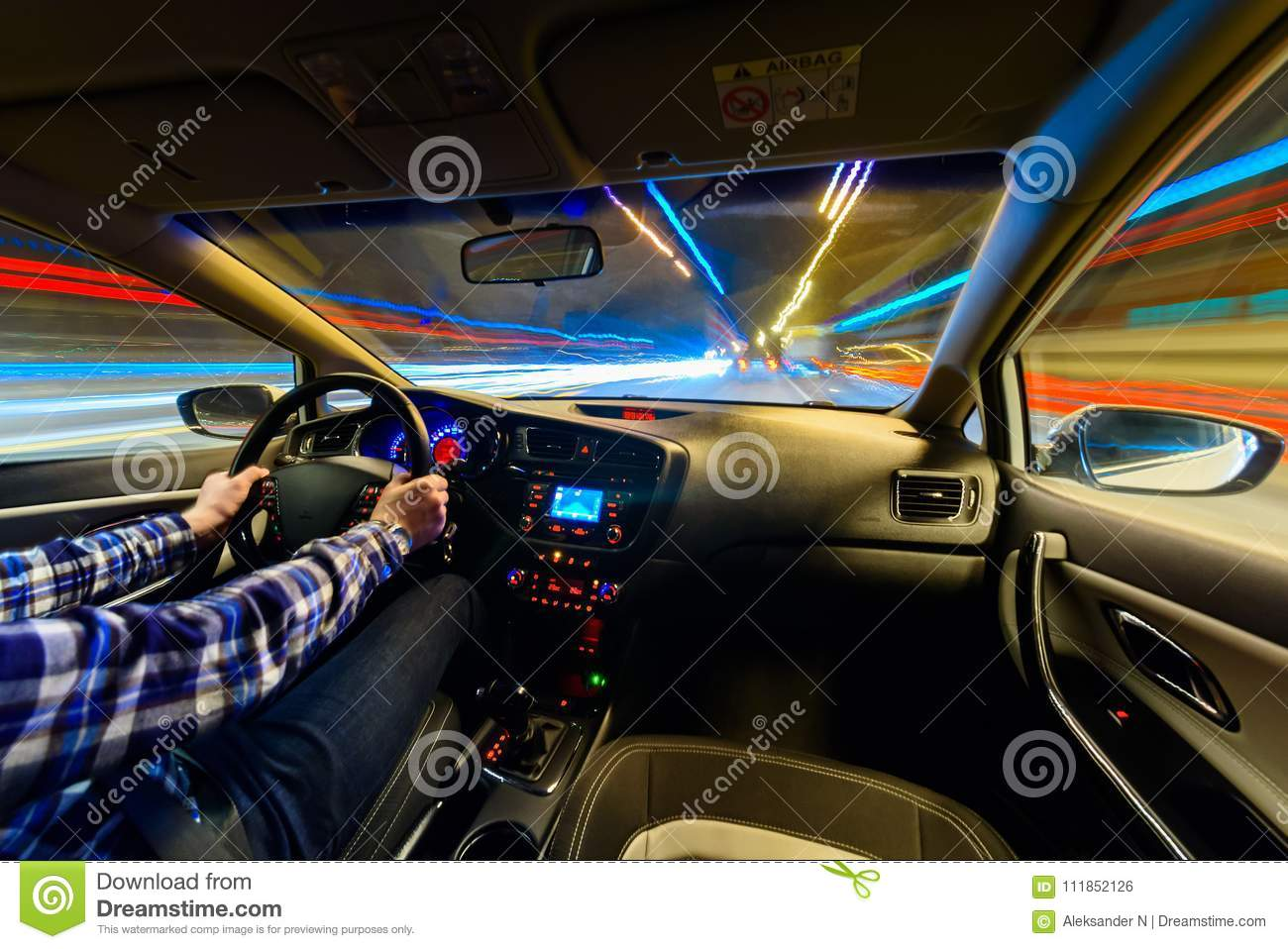 Driving In Night Scenery Hands On Steering Wheel Night Rain Time Stock Photo Image Of Megapolis Downtown 111852126