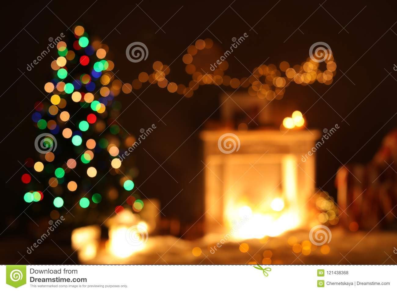 blurred view of stylish living room interior with christmas lights - Decorating Living Room With Christmas Lights