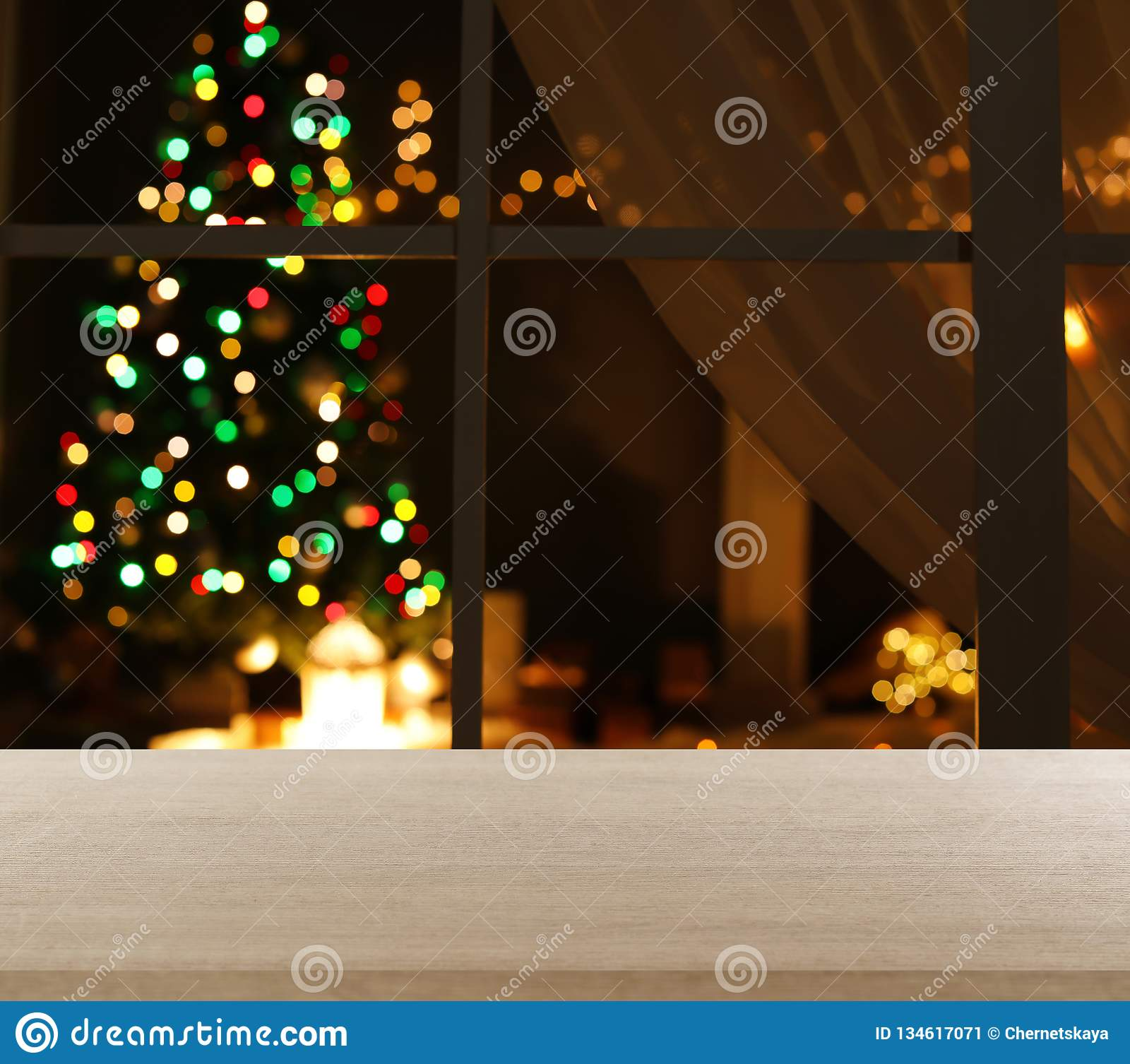 Blurred View Of Stylish Living Room Interior With Christmas