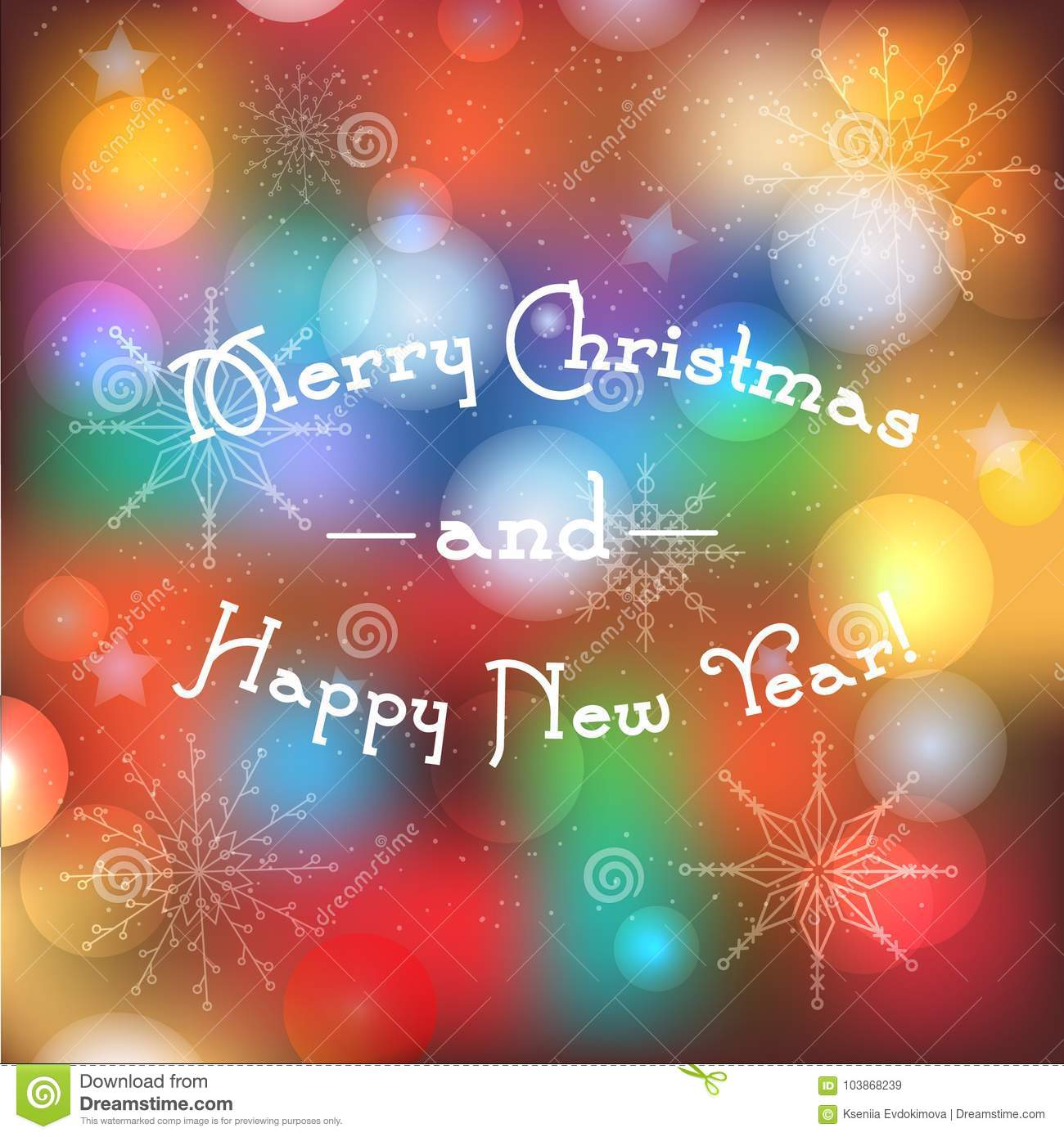 Blurred winter holidays background with Merry Christmas and Happy New Year text. Greeting banner with magic lights and traditional