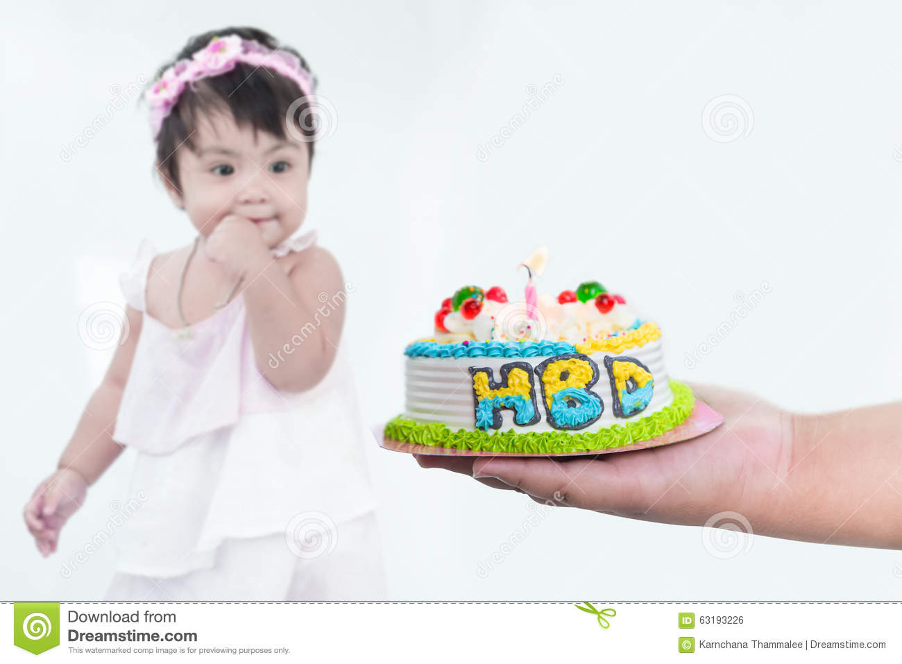 Blurry Asian girl and selective focus at happy birthday cake on