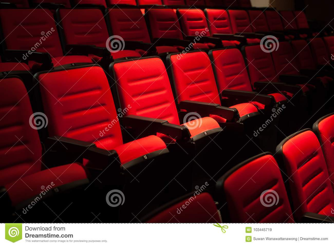 Red Seat In The Movie Theater Blurry Background Stock Image Image Of Empty Business 103445719