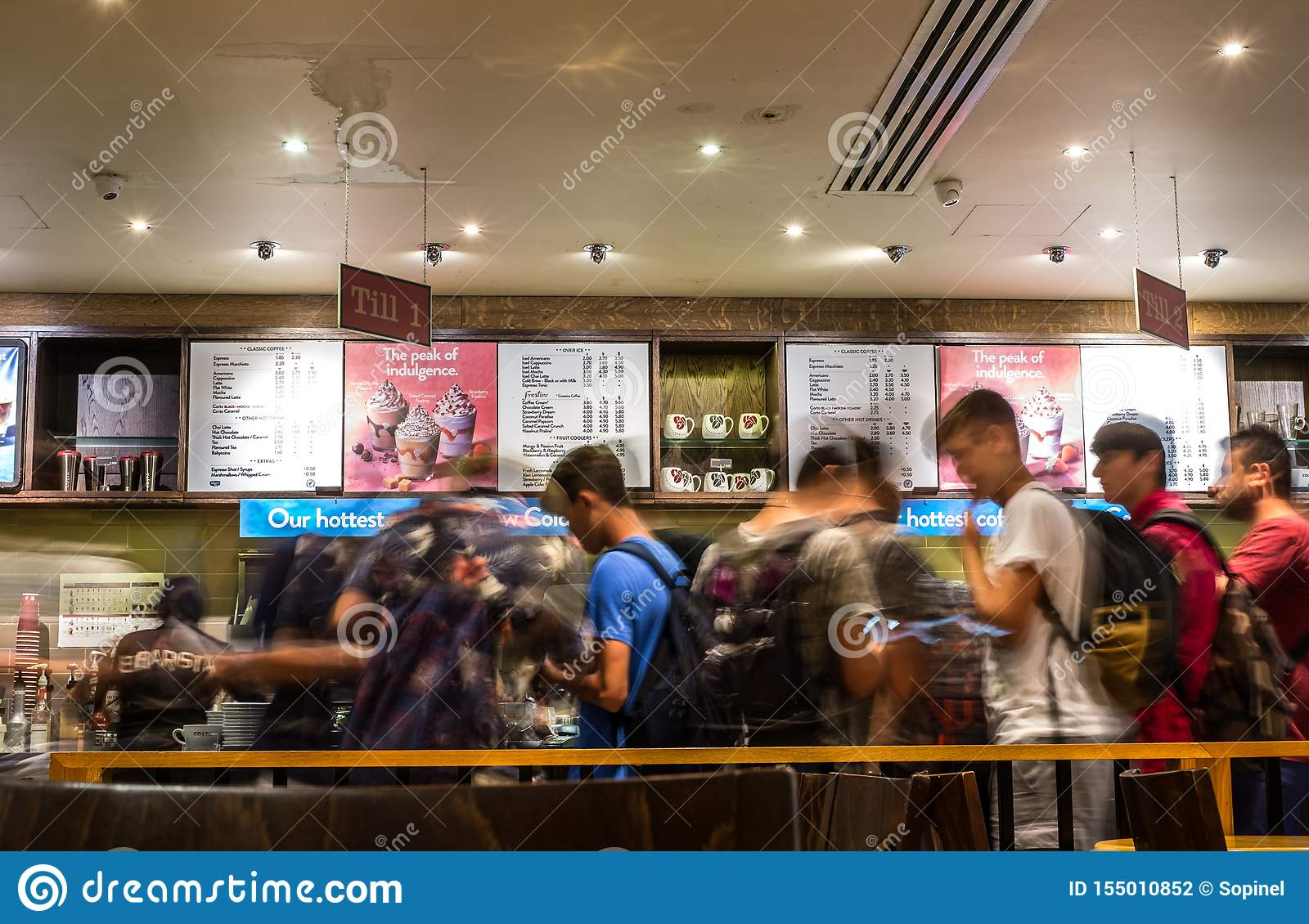 Blurry Motion Image Of People Line In Cafe Shop Editorial Photography Image Of Costa Mobile 155010852