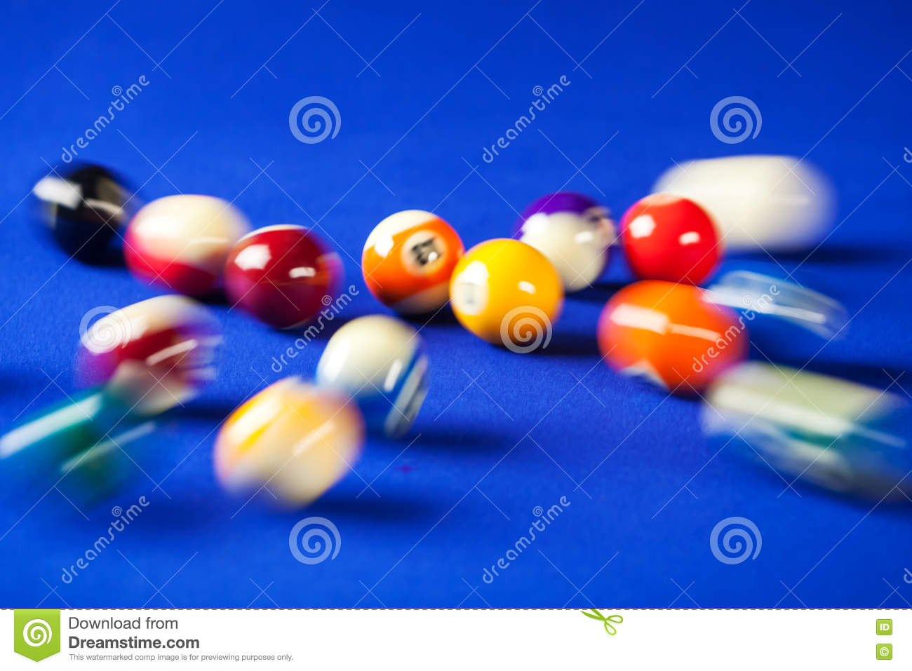 Blurry And Moving Of Billiard Balls In A Pool Table Stock Image - Pool table moving equipment