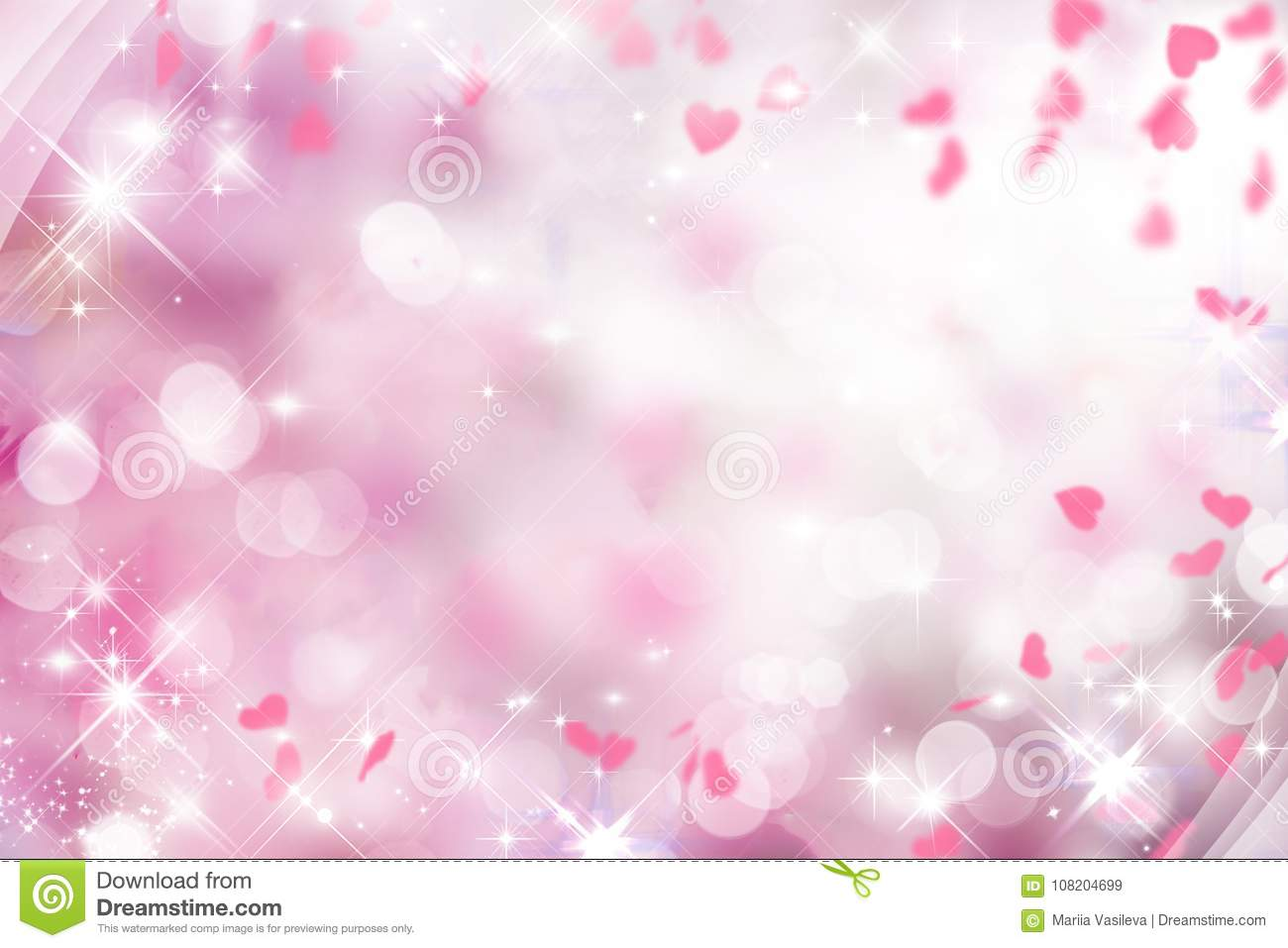 Blurry Purple Background With Pink And White Hearts On Valentines Day Wedding
