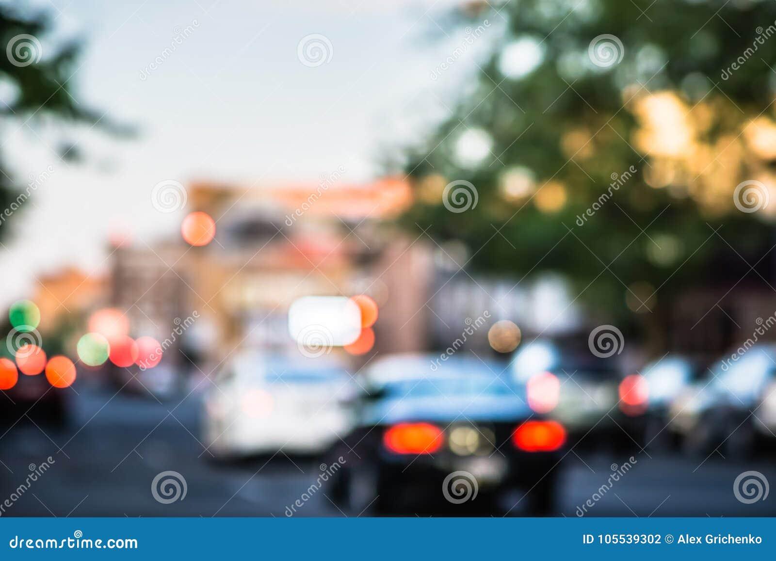 Blurry soft focus of city streets in spokane washington