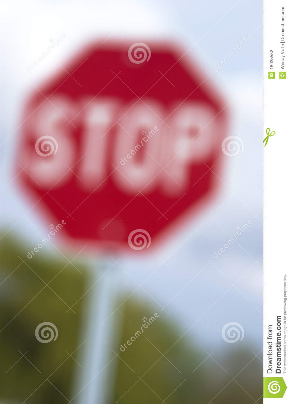 Blurry Stop Sign Stock Photography Image 16035552