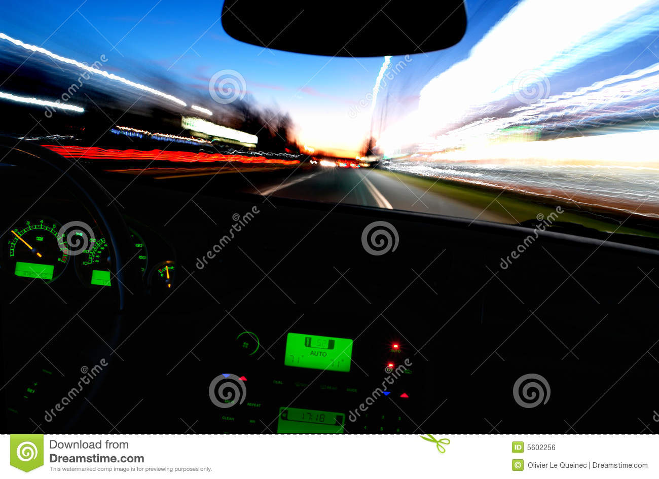 Zooming Car from Inside a Speeding Car