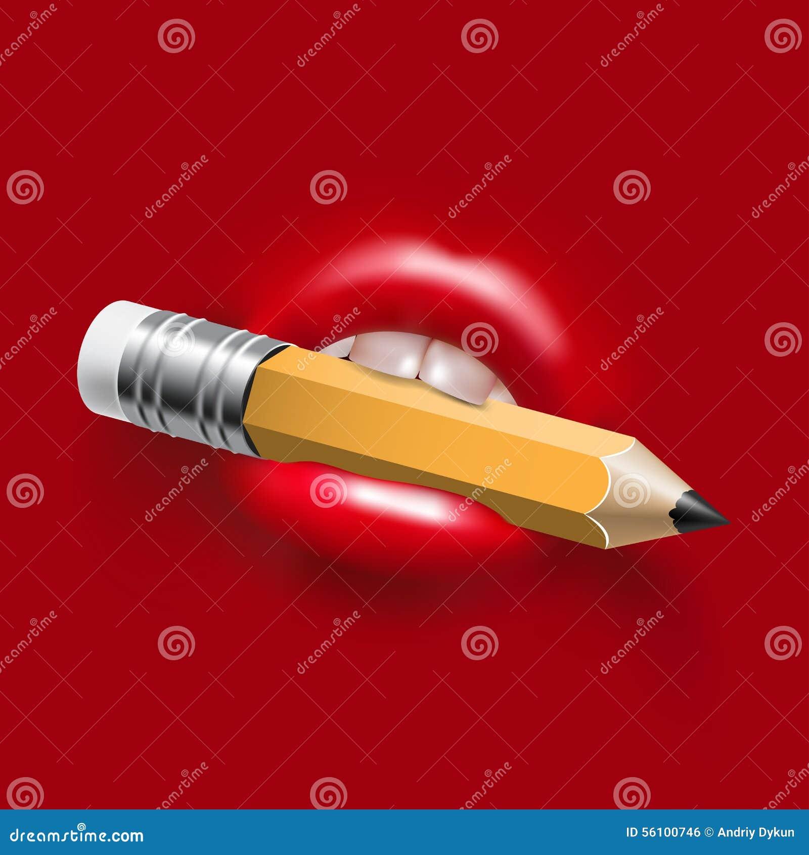 Blyertspenna i mun