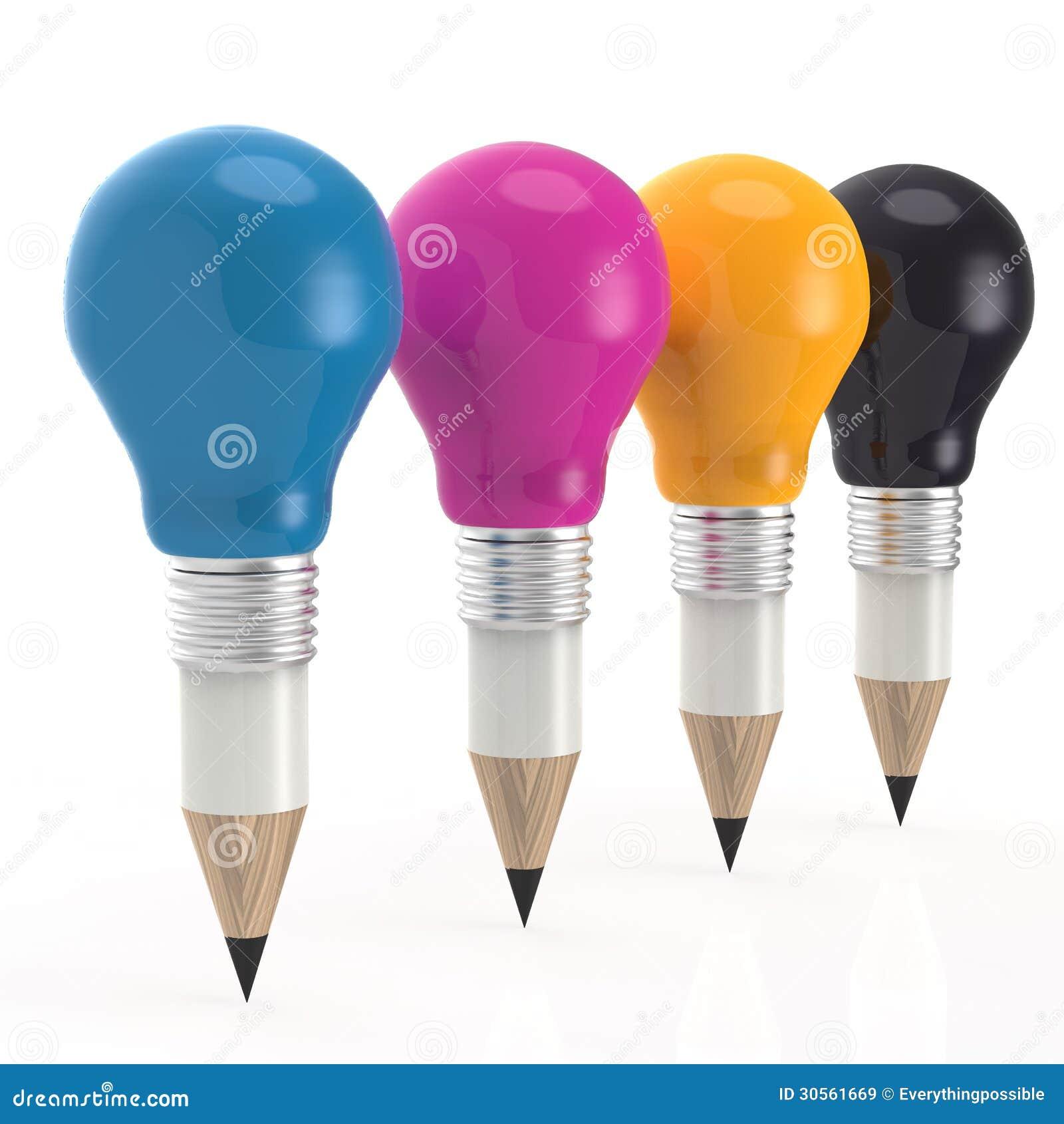 Blyertspennalightbulbhuvud i cmykfärg som idérikt begrepp