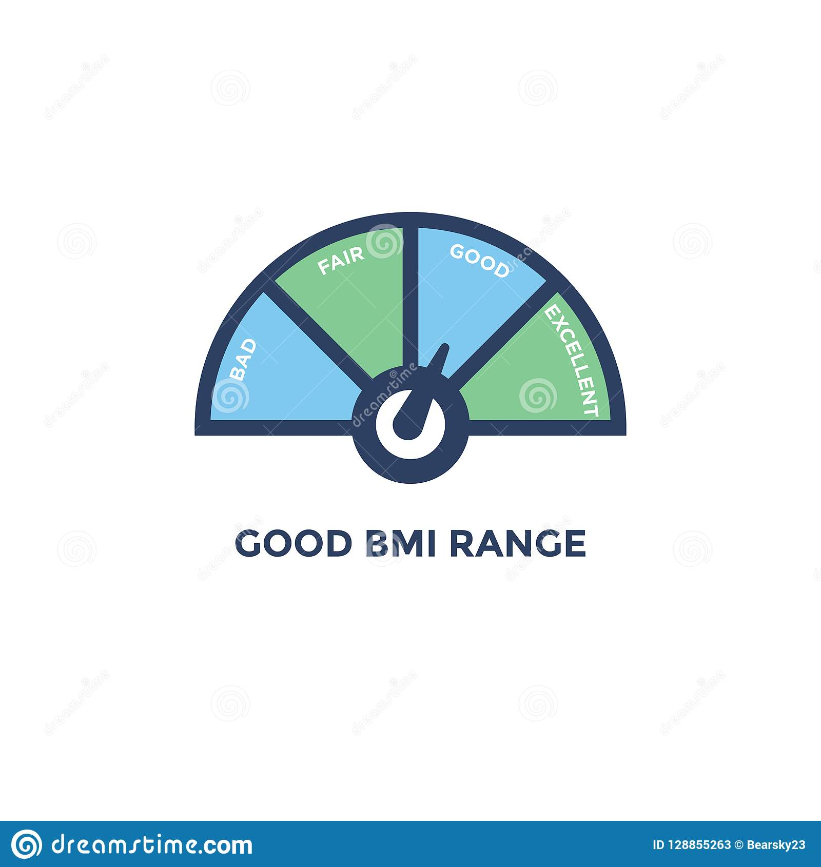 BMI   Body Mass Index Icon With With BMI Range Chart   Green And ...