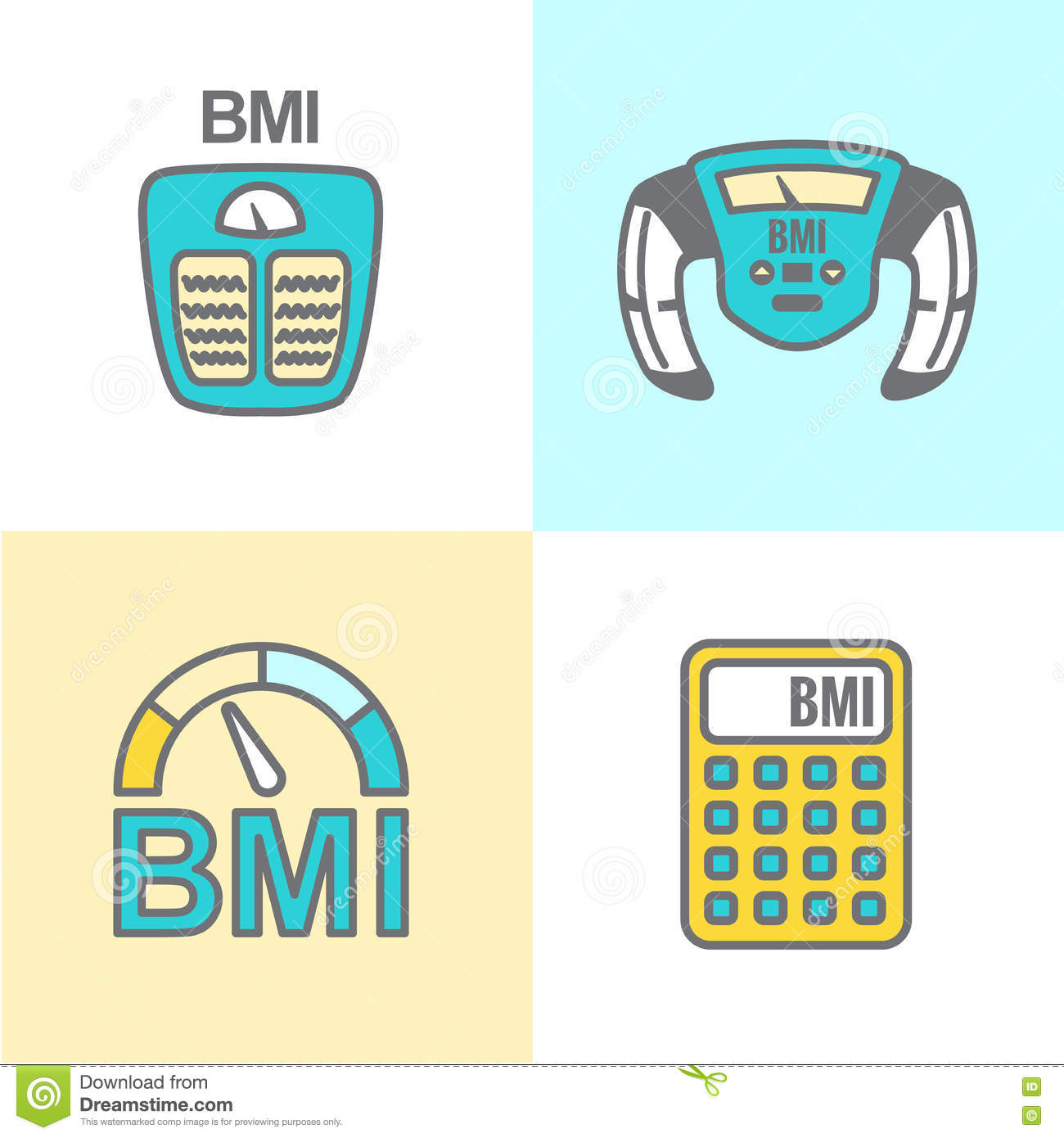 BMI or Body Mass Index Icons