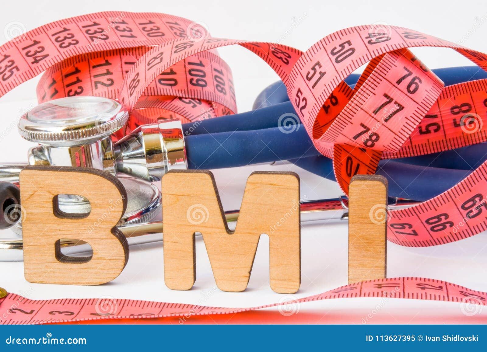 BMI oder Body-Maß-Index-Abkürzungs- oder -akronymfotokonzept in den medizinischen Diagnosen oder in der Nahrung, Diät Wort BMI is