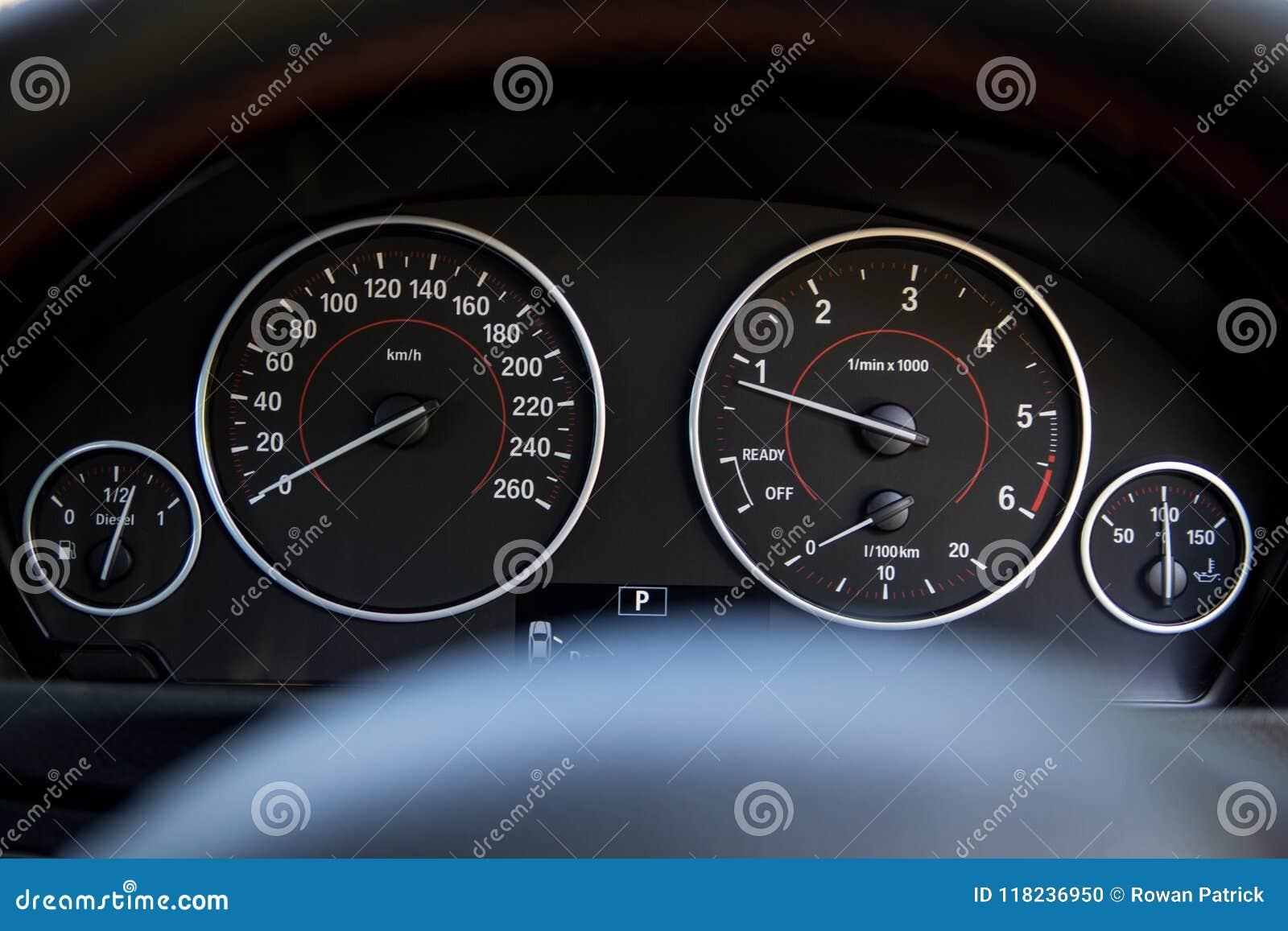 Bmw Car Speedometer Dials Black Editorial Image Image Of Details