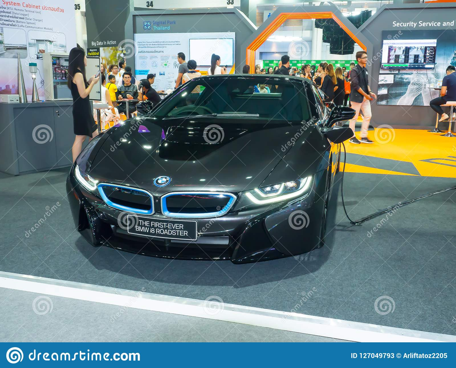The Bmw I8 Is A Plug In Hybrid Sports Car Developed By Bmw In Black Color Display At Exhibition Hall Editorial Stock Photo Image Of Energy Environmental 127049793