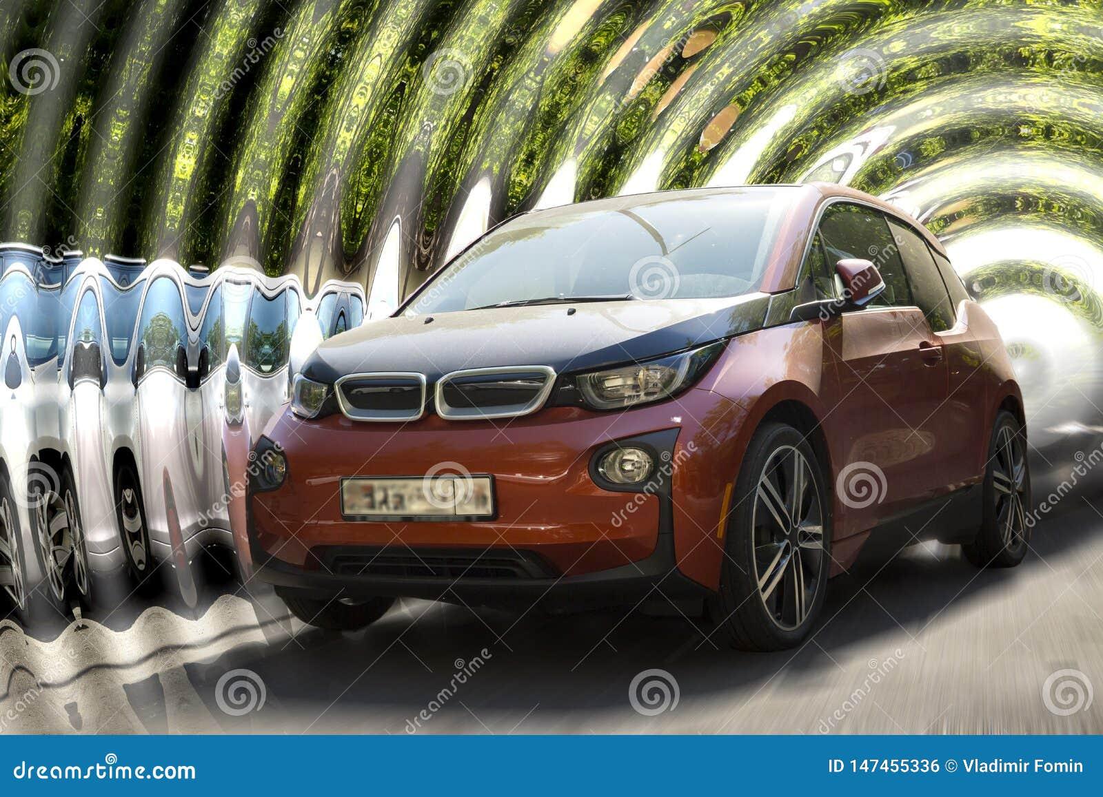 BMW i3 red car.