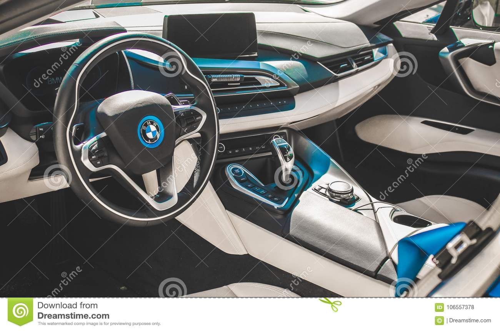Bmw I8 Sport Car Interior Look Photo Taken At A Car Expo Editorial