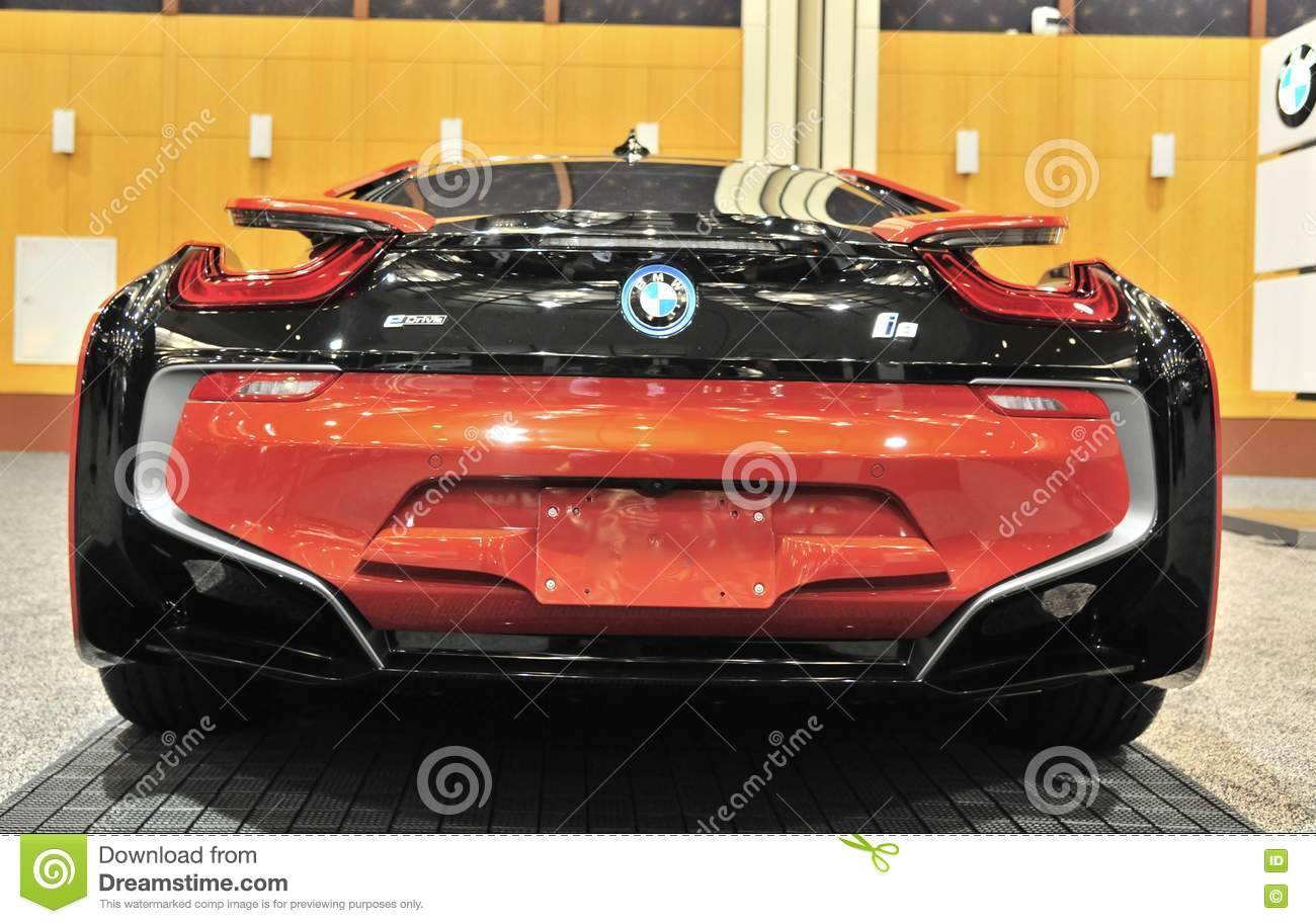 Bmw I8 Sports Car Rear View Editorial Stock Image Image Of Dash