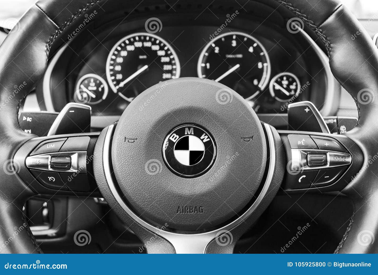 Bmw X5m 2017 Close Up Of Steering Wheel Dashboard Modern Car