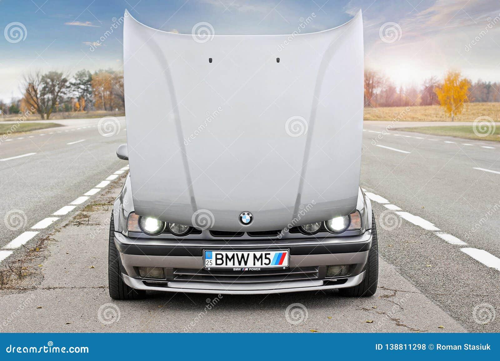 Chernigov, Ukraine - November 8, 2017  BMW M5 E34  Gray BMW