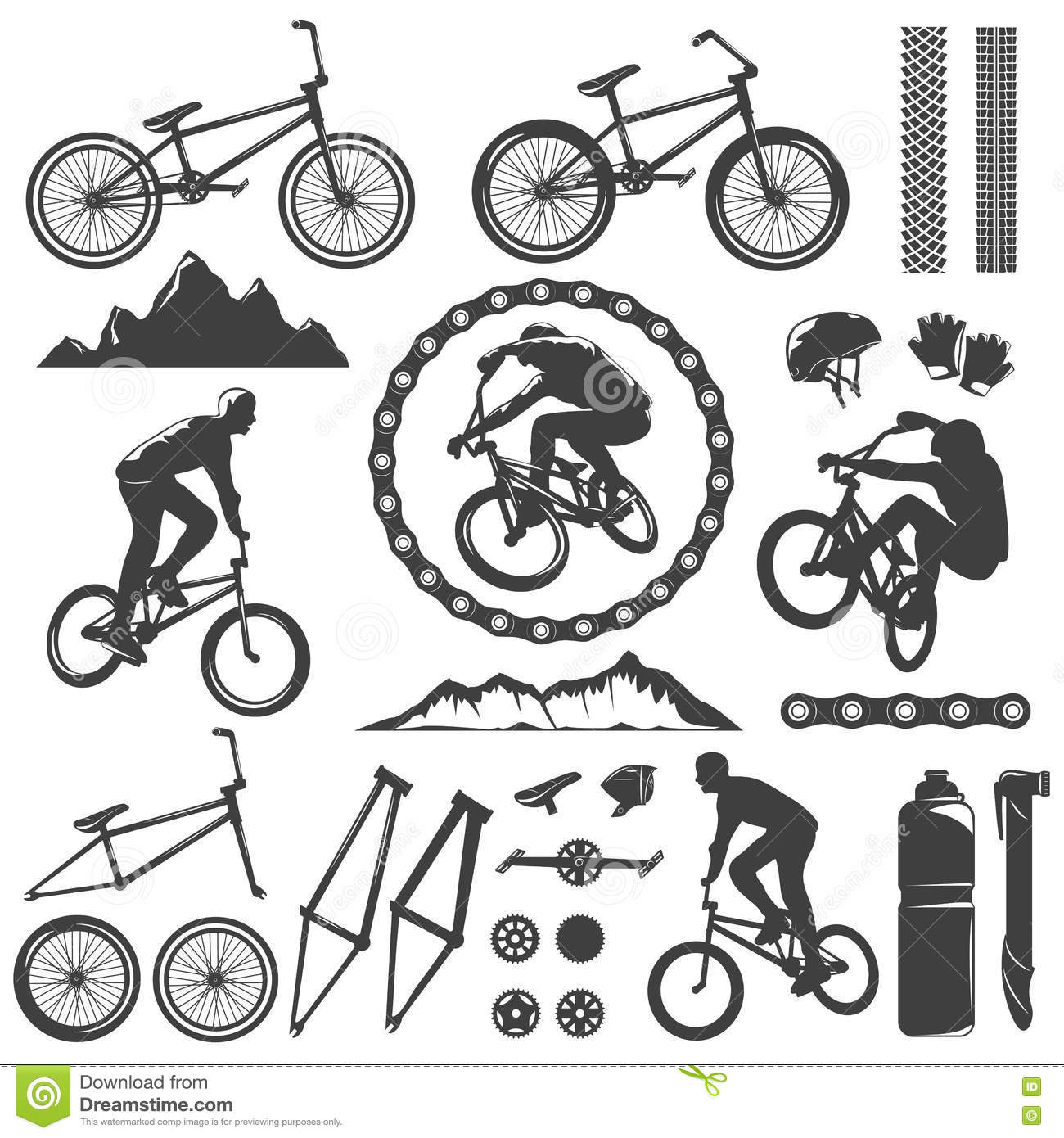 BMX Decorative Graphic Icons Set Stock Vector - Illustration of ...