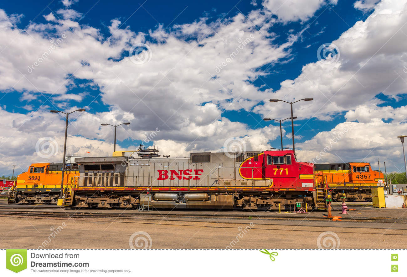 BNSF line up & facilities editorial stock image  Image of