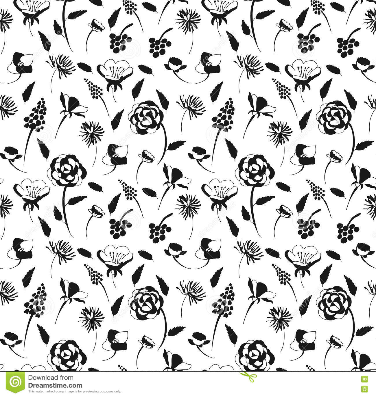 Bnw flower pattern stock vector. Illustration of greeting - 76732110