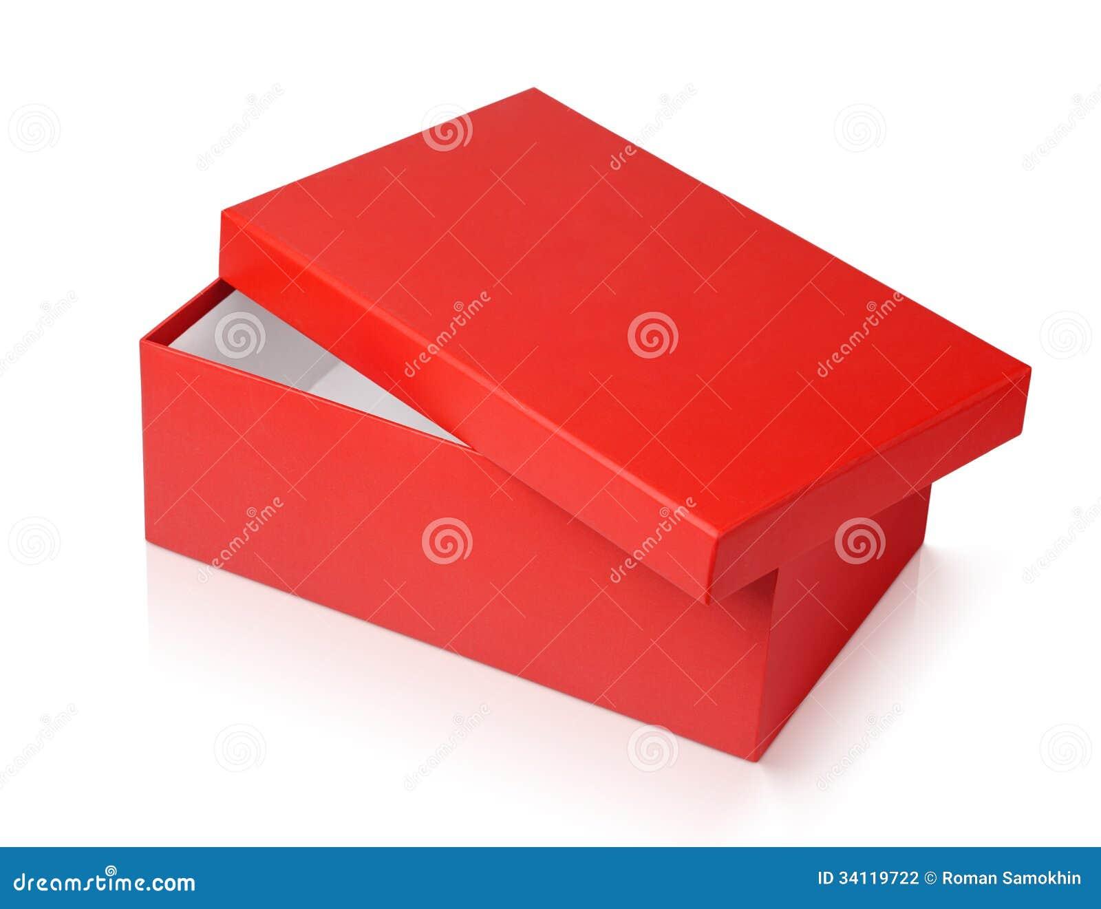 boîte à chaussures rouge d'isolement sur le blanc photo stock